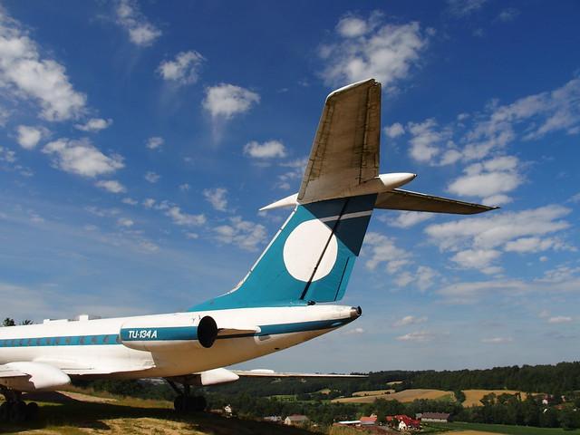 Tu-134 A in a field