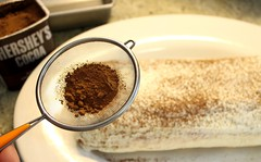 Sprinkle Cocoa Powder on Raspberry Tiramisu
