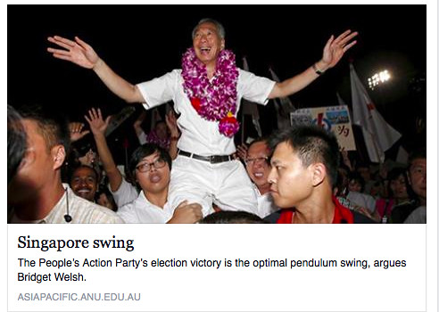 Lee Hsien Loong being carried by supporters after victory in the Singapore General Elections 2015