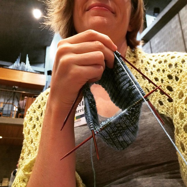 Knitting before the service at my UU church, wearing a shawl because it's SO COLD today!