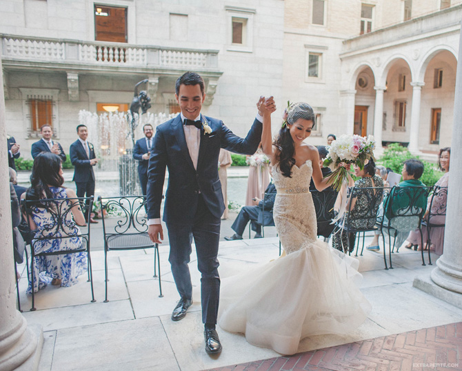 boston library courtyard wedding lazaro dress