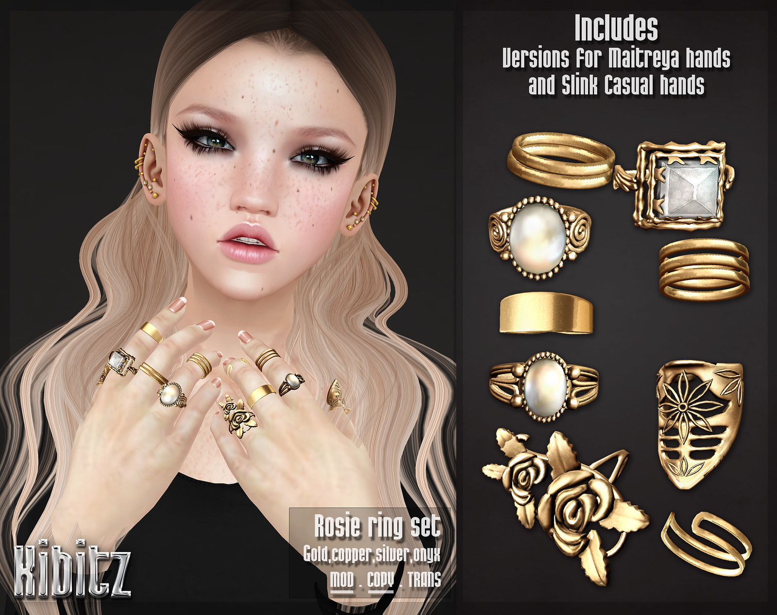 kibitz rosie ring set