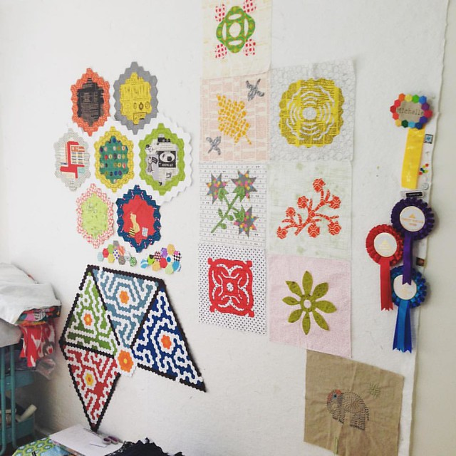 I'm sensing a theme in colour and fabric on my design wall. Sheesh.