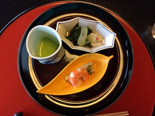 Vinagared octopus, chilled pea soup, bamboo shoot shrimp