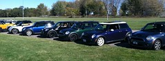 MINIs lined up on the kart racing track