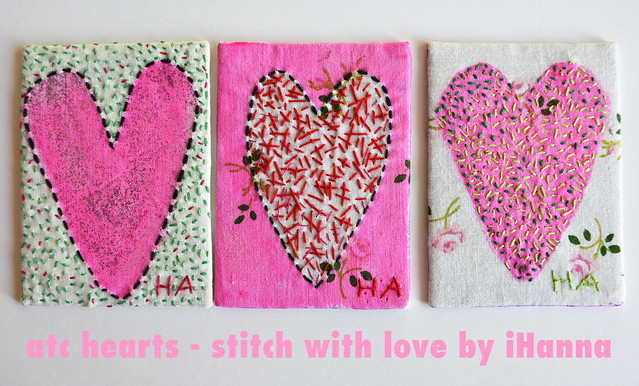 From the Stitch with love workshop by iHanna #atc #hearts