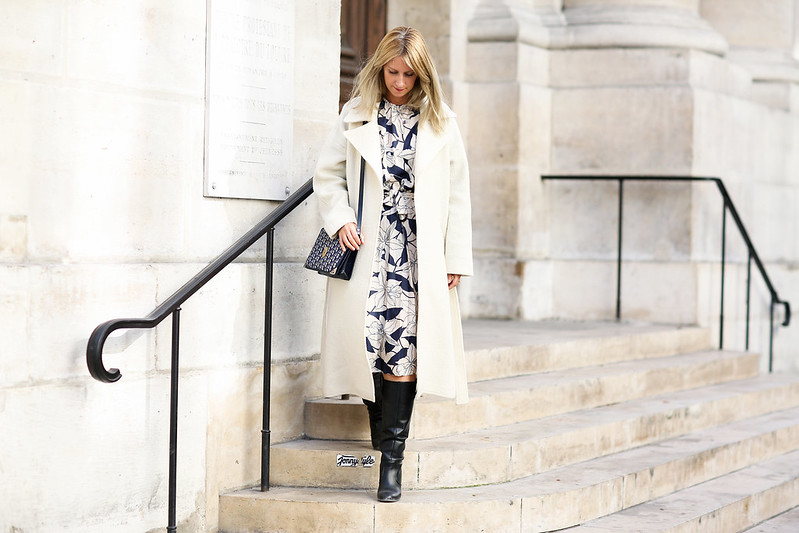 manteau long blanc outfit of the day