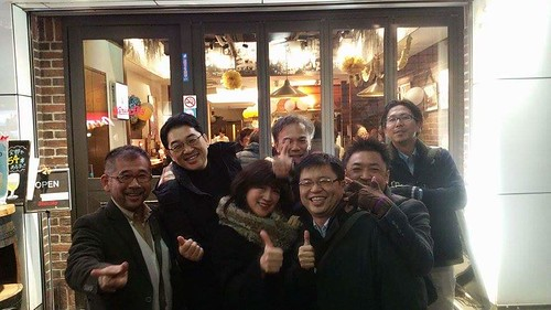 with high school mates in Shibuya