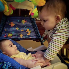 Mira is 7 months old today, exactly twice the age of her cousin Leela, who is 3 months + 15 days. Exciting that they get to be together on this special occasion, and that they'll get proportionally closer in age every day from here on out. #🎂 #:t