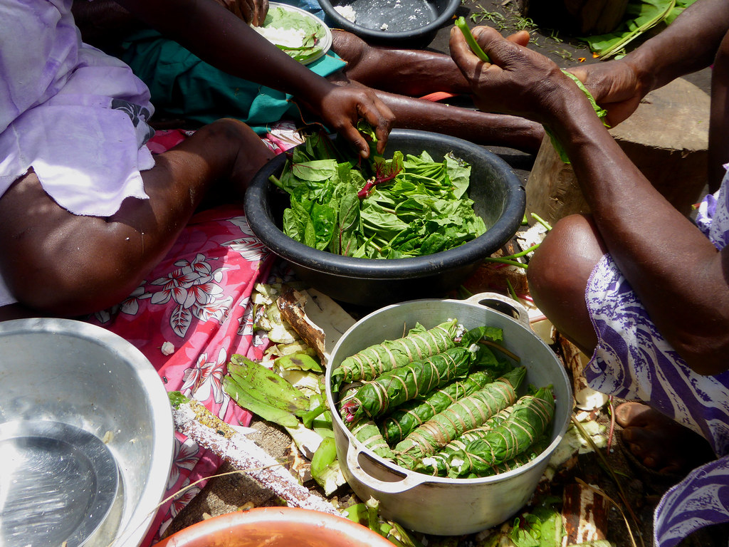 "A big part of Ni-Vanuatu cuisine is the preparation of Lap-lap, which takes many forms and generally invovles extensive use of ""bush-greens"""