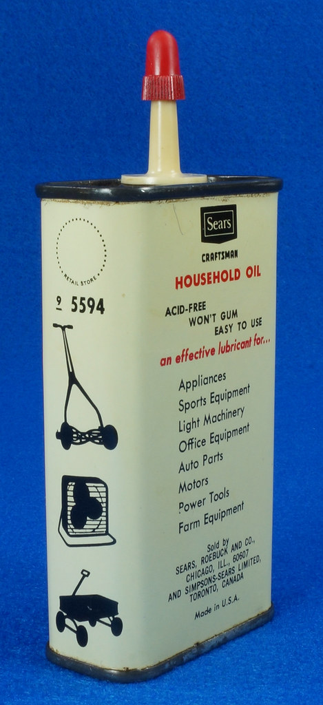 RD14508 Vintage SEARS Craftsman Household Oil 4oz Handy Oiler Can DSC06171
