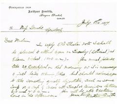 Arthur Smith original letter to patient 1897