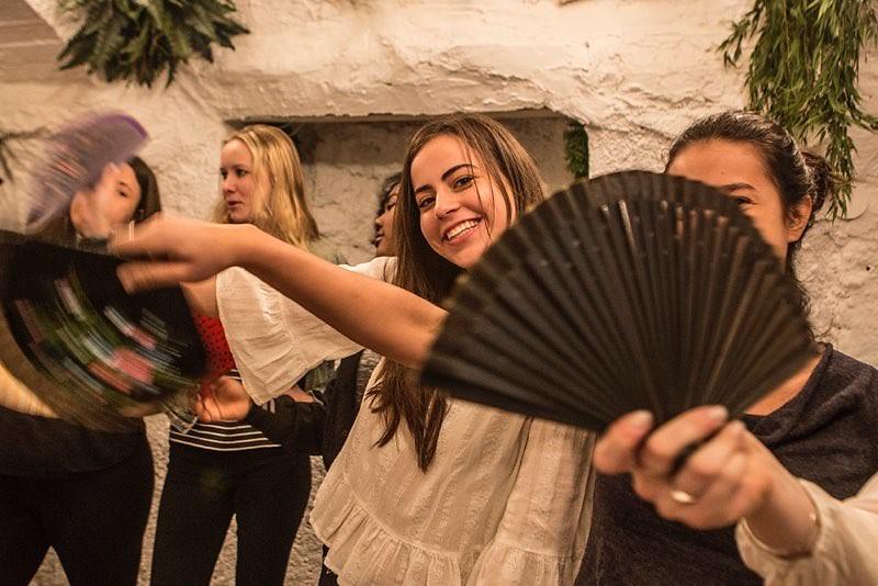 The Nightingale-Bamford School Chamber Chorus at a flamenco dance class in Granada