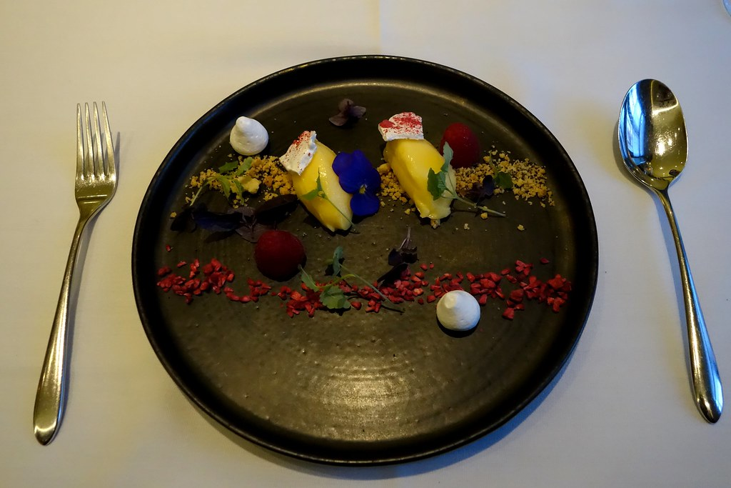 Deconstructed lemon meringue pie, lemon balm cress & strawberry dust, Kona, St James Court, Taj Hotel, London