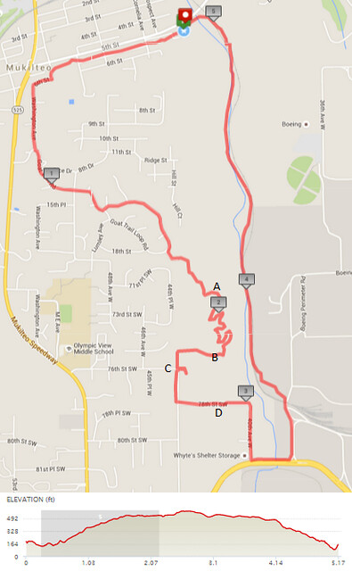 """Today""""s awesome walk, 5.17 miles in 1:55, 11,128 steps, 456ft gain"""
