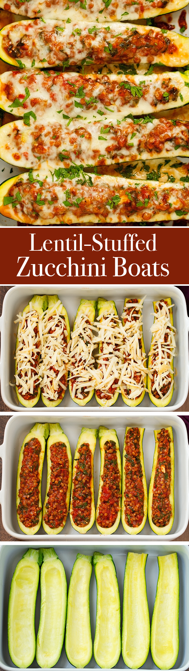 Lentil Stuffed Zucchini Boats - Less than 115 calories per boat and a whopping 8 grams of protein! These are so easy and delicous! #vegetarian #zucchiniboats #stuffedzucchiniboats   Littlespicejar.com @littlespicejar