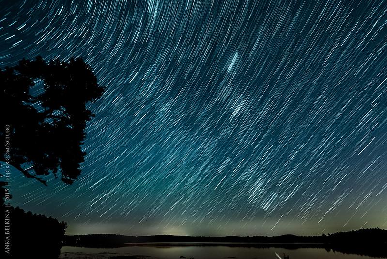 Some star trails at Lake Massabesic