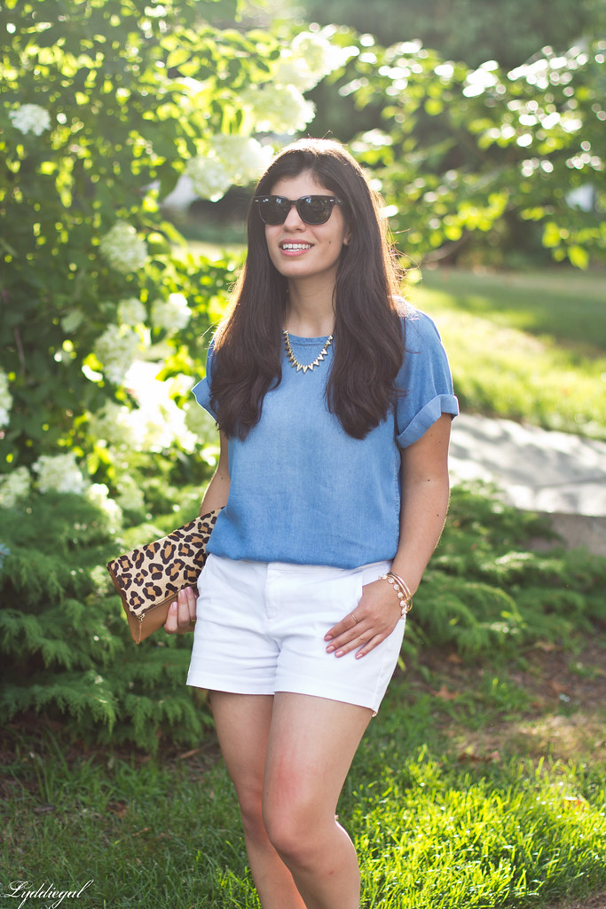 chambray tee shirt, white shorts, leopard clutch-7.jpg