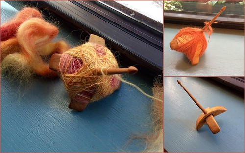 Spinning dyed Wensleydale top on Jenkins Delight Turkish spindle carob wood