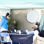 Busy Broadcasting | Authors getting the broadcast treatment at the Book Festival © Helen Jones