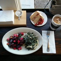 #Apple-Kale-#Beet #Salad, #Chicken-#Parmesan-#Kale Salad, #Strawberry #Cake w/ #Mascarpone #Frosting & #IcedLatte