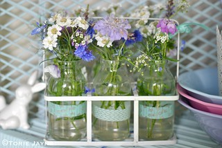 Bottles of flowers