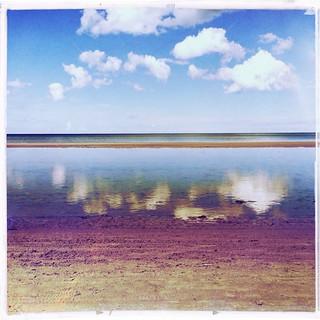 صورة Vaivaru pludmale. sea sky reflection beach water clouds strand meer jellyfish wolken balticsea latvia shore ostsee quallen lettland jurmala latvija