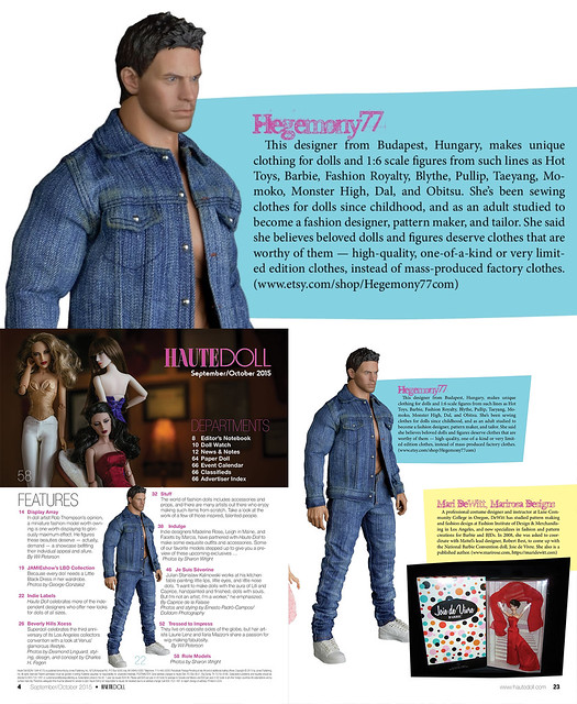 Hegemony77 sixth scale clothes in Haute Doll Magazine September October 2015