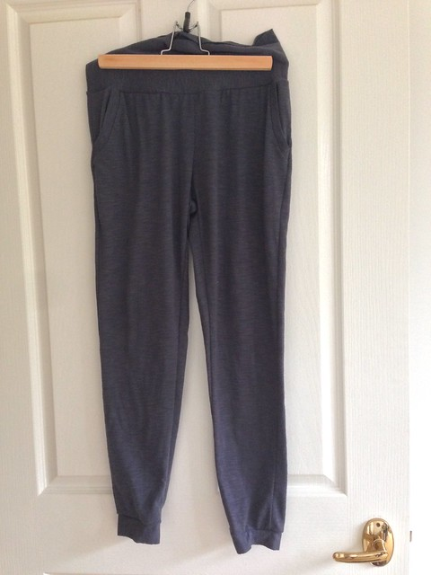 True Bias' Hudson Pants, in grey knit with maternity (yoga) waistband.