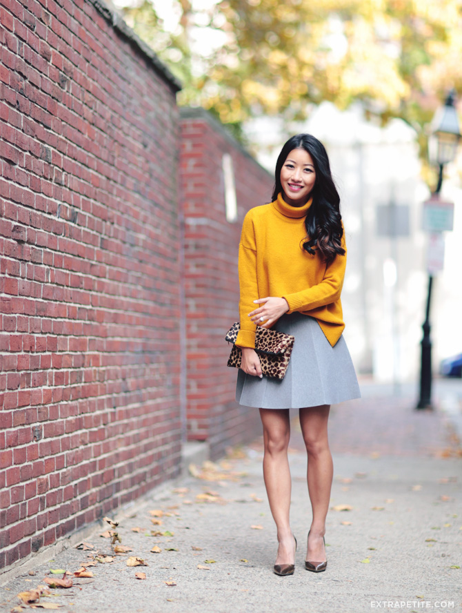 mustard sweater grey skirt outfit 1
