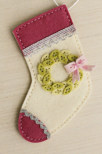 Seasonal Stitches Hoilday Wreath Die on Beaded Holiday Stocking from Beaded Holiday Stitch Kit by Papertrey Ink