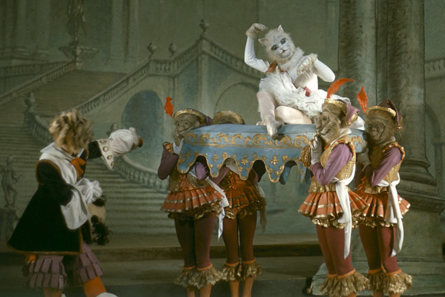 Stanley Holden as Puss-in-Boots and Margaret Dale as The White Cat in Act III of The Sleeping Beauty (1946) at the Royal Opera House, Covent Garden, the Frank Sharman Collection © 1946 ROH