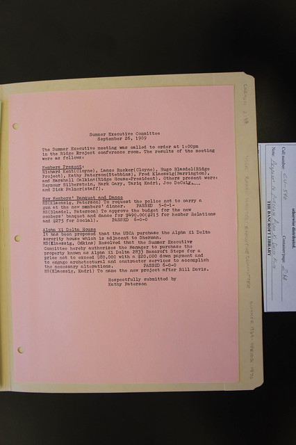 1969 USCA board minutes proposing purchase, naming of Davis House