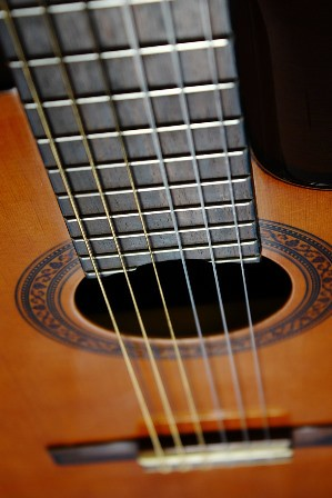 Closeup photo of classical guitar with cut-away body