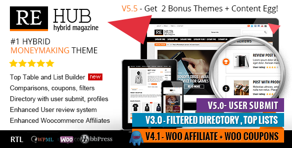 Themeforest REHub v5.6.1 - Directory, Shop, Coupon, Affiliate Theme