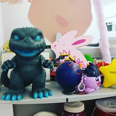 my kaiju defense line at work #goji