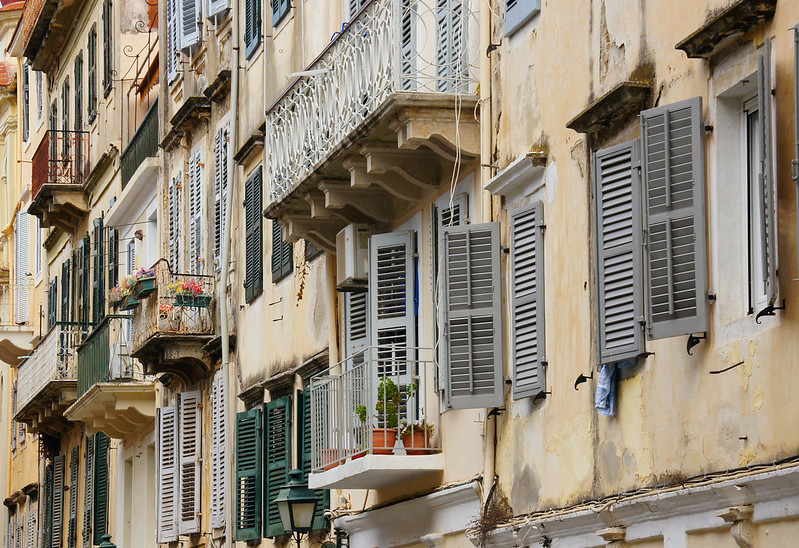 LOUVERED SHUTTERS, CORFU GREECE