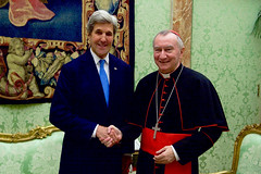 U.S. Secretary of State John Kerry shakes hands Vatican Secretary of State Cardinal Pietro Parolin on December 2, 2016, before a bilateral meeting on Mediterranean issues following an Italian-hosted multinational conference about Mediterranean issues at the Vatican in Rome, Italy. [State Department photo/ Public Domain]