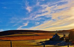 The blue, blue skies of an Aberdeenshire winter and the watery sun that drenches the land instead of rain
