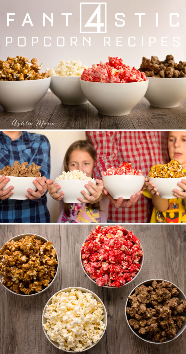 4 different types of popcorn for each of the fantastic 4 - stretchy caramel popcorn for Mr Fantastic, simple and slightly sweet kettle corn for Invisible girl, Red Hots candied popcorn for the Human Torch and peanut butter puppy chow popcorn for Thing
