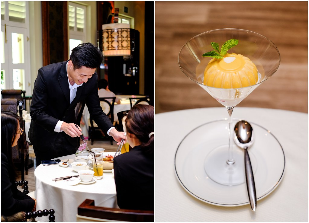 Boston Lobster Menu: Cassia's signature chilled Osmanthus tea & Chilled Mango Pudding with Fresh Fruits that's creamy