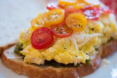 smoked salmon(0.0), meal(1.0), breakfast(1.0), vegetable(1.0), bruschetta(1.0), produce(1.0), food(1.0), dish(1.0), scrambled eggs(1.0), cuisine(1.0),