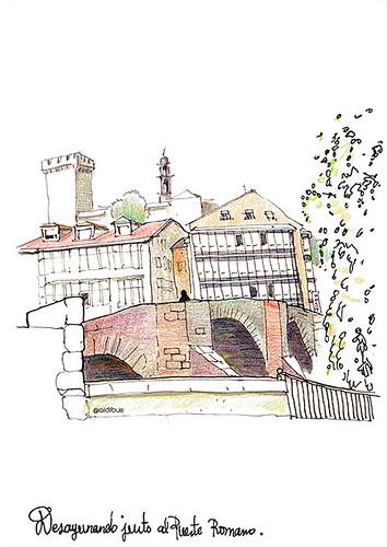 Desayunando frente al puente romano