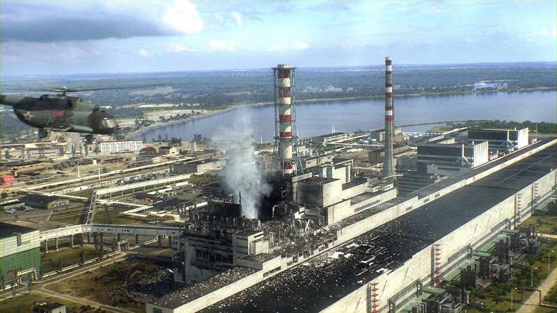 The nuclear reactor after the disaster with reactor 4 in center