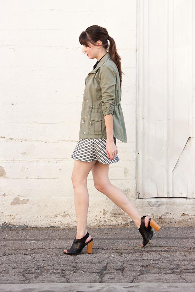 H&M Cargo Jacket, Open Toe Mules, Fall Outfit