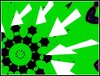 White Arrows & Black Gear With Green Background - Abstract Photo Created by STEVEN CHATEAUNEUF On September 3, 2015 by snc145