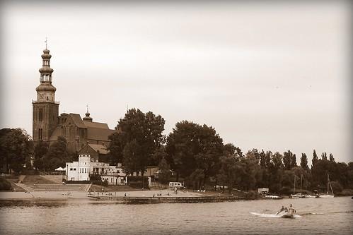 panorama lake building beach church sepia architecture landscape town view cathedral poland polska chełmża