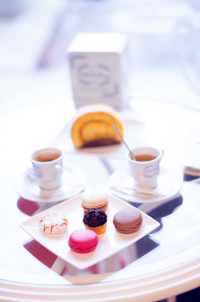 Macarons, chocolate, cafe, pastel, cafetería