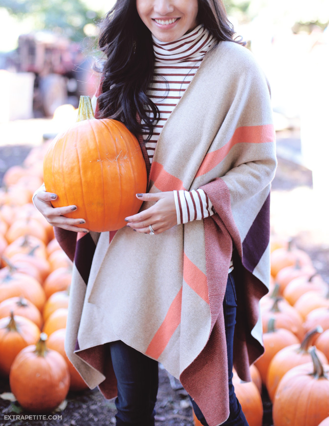 fall outfit cape sweater stripes1