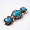 Vintage Old Navajo Sterling Silver and Turquoise Bar Pin